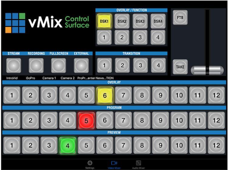 iPad控制vMix软件: vMix Virtual Control Surface