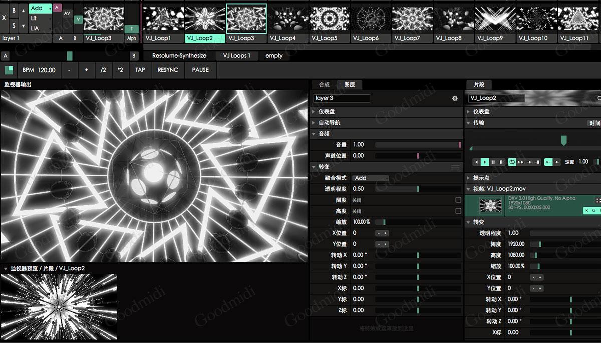 经典黑白动感VJ Loop DXV3素材